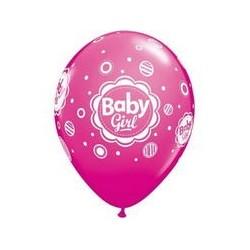 Balon 11 baby girl kropki 6 szt.