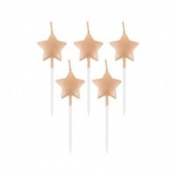 Świeczki pikery gwiazdki metaliczne różowo-złote 5szt