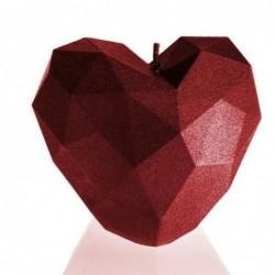 Świeca serce czerwone z połyskiem 78x80x90mm