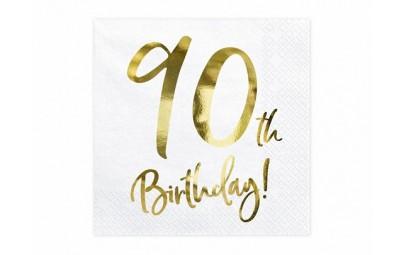 Serwetka 90 Birthday biała...