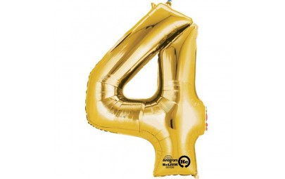 Balon foliowy 16 cyfra 4 złota
