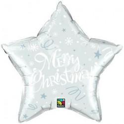 Balon foliowy 20 gwiazda Merry Christmas srebrna