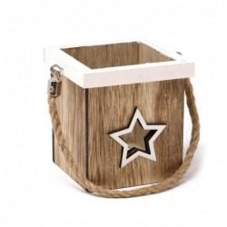 Świecznik z drewna z gwiazdą 9cm