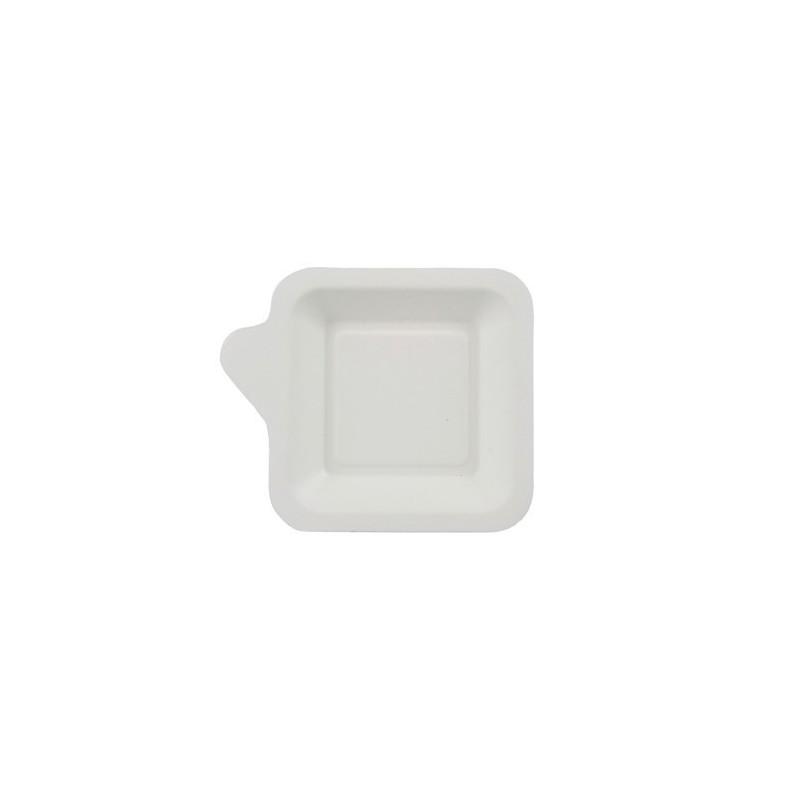 Talerzyk z trzciny cukrowej kwadratowy z uchwytem 11,3x11,3cm 50 szt. art.85214
