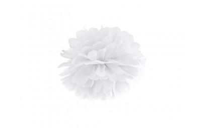 Pompon bibułowy biały 25cm