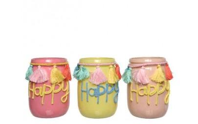 Świecznik szklany Happy...