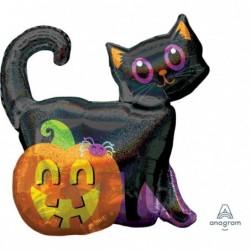 Balon foliowy 28 Czarny Kot i Dynia holograficzny