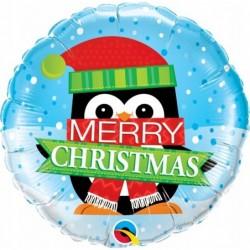 Balon foliowy 18 pingwin Merry Christmas