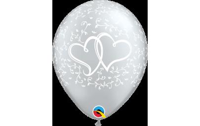 Balon 11 dwa serca srebrny...