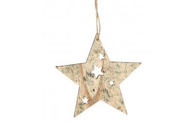 Gwiazda z drewna złota 12cm