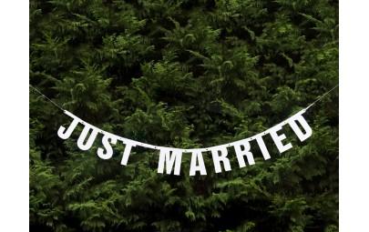 Baner Just Married biały...