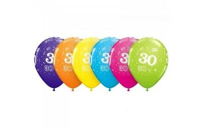 Balon 11 30 urodziny 6 szt.