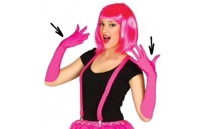Rękawiczki neonowe różowe 45cm