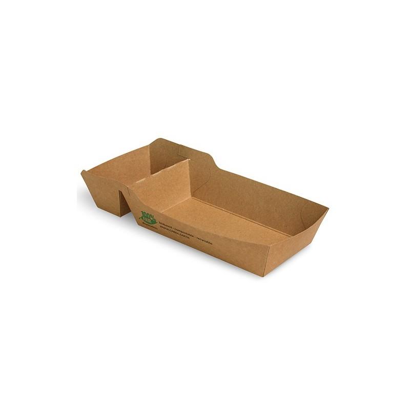 Tacki na frytki z kartonu 2 części 3,5x7x12cm 80szt brązowe średnie art.87256