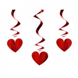 Świderki serca czerwone 3szt 60cm