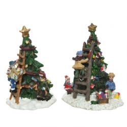 Figurka dzieci dekorujące choinkę multi 6,5x6,5x9cm