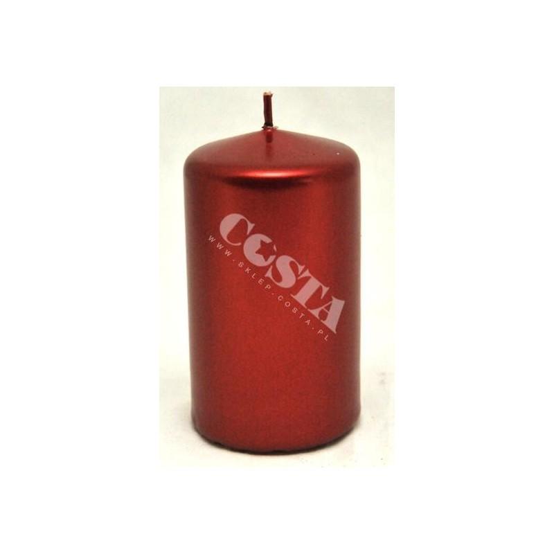 Świeca klubowa metalik czerwony 65x100mm