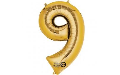 Balon foliowy 16 cyfra 9 złota