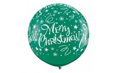Balon 1m zielony Święta 2szt.
