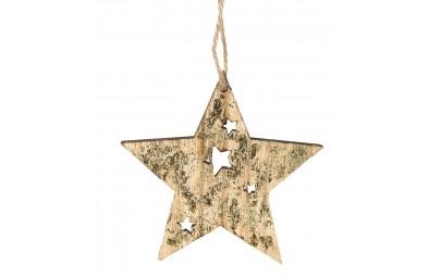 Gwiazda z drewna złota 9cm