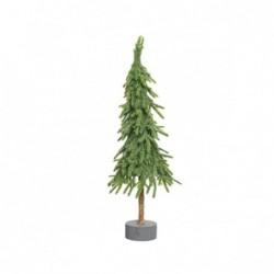Choinka na pniu z brokatem 13x13x45cm zielona