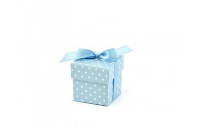 Pudełeczko dla gości z kokardką błękitne