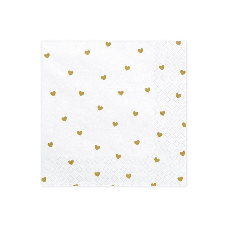 Serwetki Serca , białe 33x33cm 1op. 20 szt