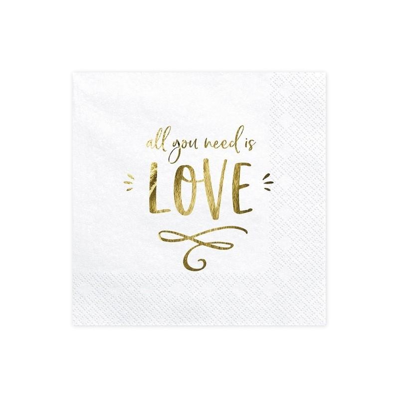 Serwetki - All you need is love, biały, 33x33cm 20 szt.