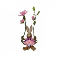 Zając na huśtawce z kwiatów 35x26x68cm