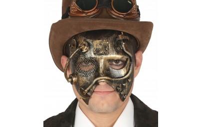 Maska punk metalowa złota