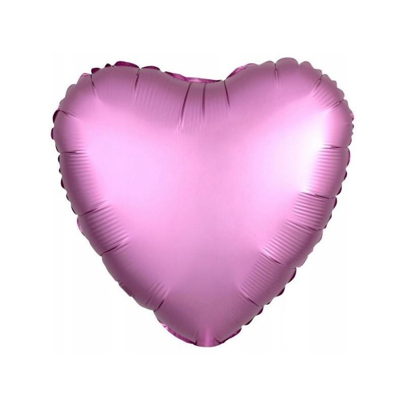 Balon foliowy 17 satynowy serce różowe