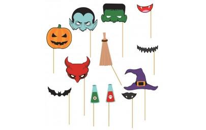 Rekwizyty do zdjęć, fotobudki Halloween 12 szt.