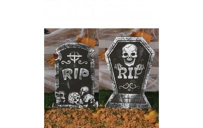 Nagrobek RIP z czaszką na...