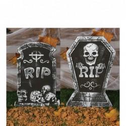 Nagrobek RIP z czaszką na Halloween 38x27cm