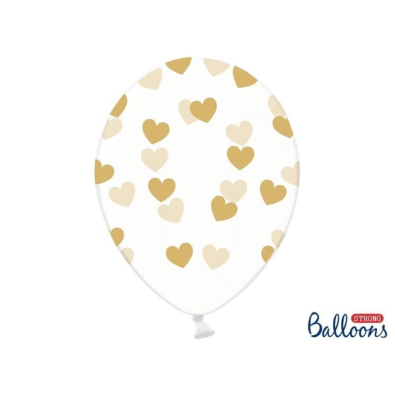 Balon 30cm przezroczysty w serca złote 6 szt.