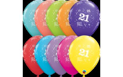 Balon 11 21 urodziny 6 szt.