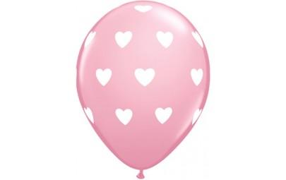Balon 11 różowy w białe serca