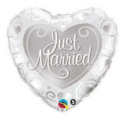 Balon 18 serce just married srebrny