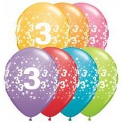Balon 11 3 urodziny 6 szt.