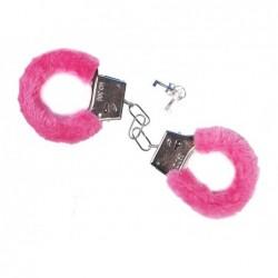 Kajdanki z futerkiem różowe