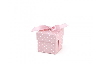 Pudełeczko dla gości z kokardką różowe