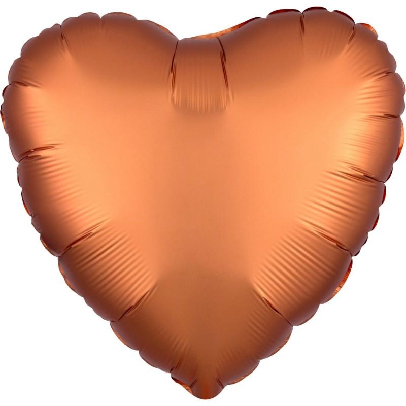 Balon foliowy 17 satynowy serce bursztynowe