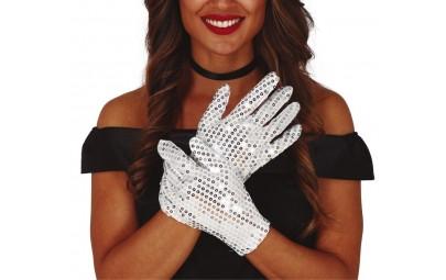 Rękawiczki białe z cekinami...