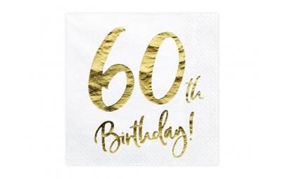 Serwetka 60 Birthday biała...