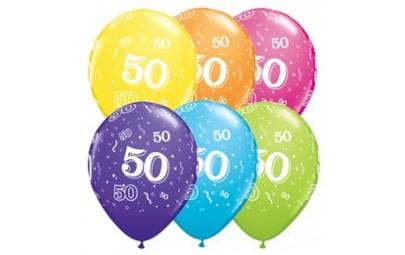 Balon 11 50 urodziny 6 szt.