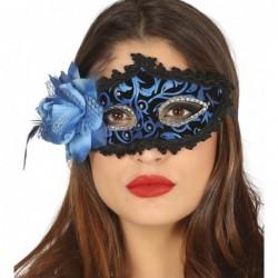 Maska z różą czarno-niebieska