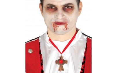 Wisiorek Gotycki Krzyż z Rubinem różowe złoto