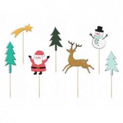 Toppery dekoracje świąteczne na tort Merry Xmas 12,5-18,5cm 7 sztuk