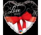 Balon foliowy 18 serce biało czarne z kokardą Love You