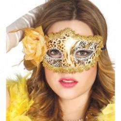 Maska z różą w panterkę